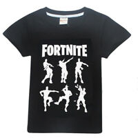 Fortnite Gaming Game Design Casual TShirt Top Tee Black Cartoon Kids Boys Shirt