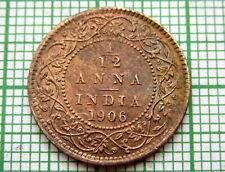 INDIA EDWARD VII 1906 1/12 ANNA UNC LUSTRE