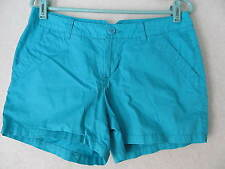 Colombia Turquoise Blue Zipper Front Shorts! Sz 8! 100% Cotton!