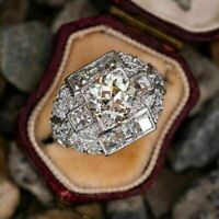 3 Ct Diamond Estate Engagement Wedding Antique Art Deco Ring 14K White Gold Over