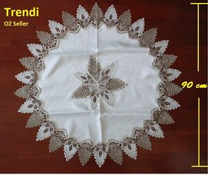 White & Grey Lace Round Coffee Tablecloth 90 cm diameter