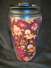 Starbucks travel mug Halloween decor ghosts monsters brown orange 8 oz.scary art