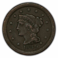1849 1c Braided Hair Large Cent - XF Details - SKU-Z1352