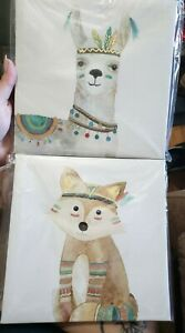 Set Of 2 boho Nursery Animal Pictures
