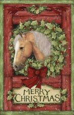 WELCOME WREATH HOLLY HORSE CHRISTMAS LARGE FABRIC PANEL