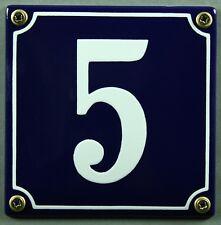 """Blaue Emaille Hausnummer """"5"""" 12x12 cm Hausnummernschild sofort lieferbar Schild"""
