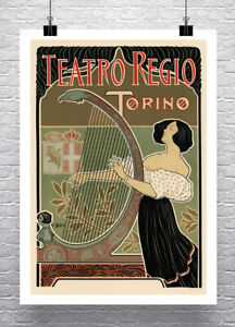 Woman Playing Harp Italian Art Nouveau Poster Giclee Print on Canvas or Paper