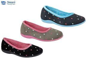 Ladies Slippers Sleepers Memory Foam Spotted Comfy Grey Black Blue Size 3-8 UK