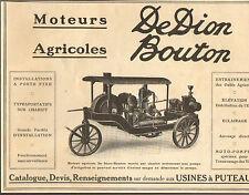 92 PUTEAUX PUBLICITE DE DION BOUTON MOTEURS AGRICOLES 1913