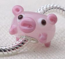 1PCS SILVER MURANO GLASS BEAD LAMPWORK Animal European Charm Bracelet DW070