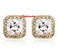 Rose Gold Filled Made with Swarovski Crystals Bridal Square Stud Earring IE9