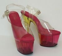 "Pleaser Heels Size 6  Worn Stripper Shoes  7"" Clear Pink Yellow Sexy Stiletto"