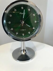 Vintage GREEN RHYTHM Pedestal 2 Jewel Wind Up Alarm Clock JAPAN RETRO SCI-FI