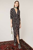BNWT Rixo London Rose – Peach Spot Backless Midi Dress Sz L,XL