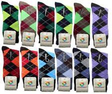 12 Pairs New Cotton Men Argyle Diamond Style Dress Socks Size 10-13 Multi Color