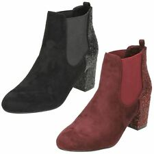 ANNE MICHELLE LADIES GLITTER CASUAL HEELED SHOES CHELSEA ANKLE BOOTS F50682
