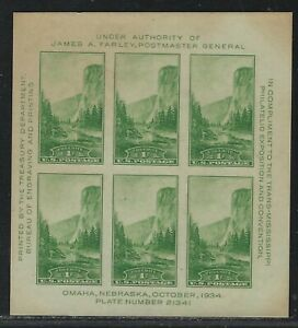 1934 U.S. Scott #751 - 1¢ National Parks Souvenir Sheet - MNH