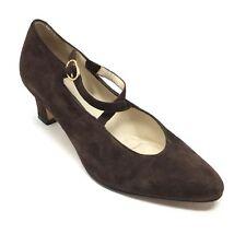 Women's Bally Sequoia Pump Heels Shoes Size 5C Wide Brown Suede Cross Strap R9