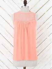 NWT Altar'd State Peach Crepe Hi Neck Lace Yoke Top Blouse Size Small