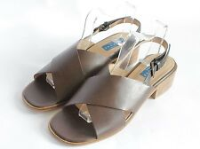 VGC JOHN LEWIS Brown Leather Sandals Block Heel Summer Shoes UK 7 with tags