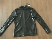 Wearhouse Black Sequin Polo Neck Top Brand New 14