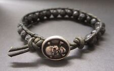 Handcrafted Gift Men's Lava Rock Surf Army Green Leather Bracelet w/ Skull