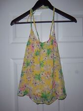 Women's Love Riche Yellow Floral Strap Tank Top Size Large NWT