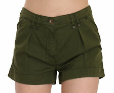 PLEIN SUD JEANIUS Shorts Green Mid Waist 100% Cotton Mini IT36/US2/XS