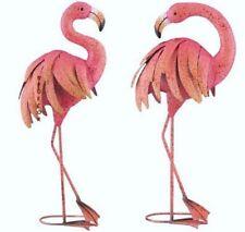 Pink Flamingo Garden Pair Coastal Birds Metal Pool Pond Lawn Statues Sculptures