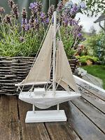 Maritime Dekoration Segelboot Schiff Segelschiff Kleines Boot Holz Baumwolle