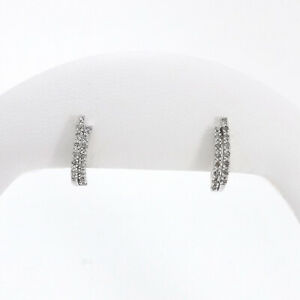 10K White Gold Double Row Natural Diamond Small Huggie Hoop Earrings New