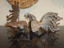 PERUVIAN PAIR OF STERLING SILVER FIGHTING COCK ROOSTER STATUES 465 GRAMS