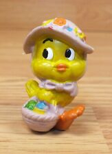 Vintage Hong Kong Made Easter Chick With Hat & Basket Pvc Collectible Toy