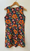 Handmade retro style orange flower floral short dress size XS 6 8 (girls 12 -14)