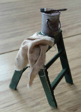 1/12th scale aged and distressed small step ladders with rusty paint tin & brush