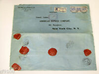 American Express Company AMEX Cover Envelope Embossed Wax Seals Ceylon 1929 Reg