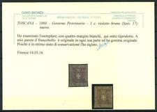Toscana 1860 Sass. 17 Nuovo * 100% Biondi cert. 1 c. violetto Governo Prov.