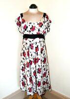 Stunning Monsoon Ivory Pure Silk Dress Pink Flowers Black Belt Size 20 Brand New