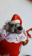 "5"" VTG Vintage Mouse wearing Santa Outfit on Swing Christmas xmas Tree Ornament"