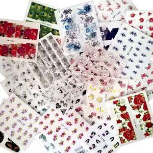 10 Bögen Nagel Sticker Nail Art Spar Set Tattoos Mix Blumen Full Cover 3D Bunt