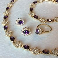 SET Purple amethyst gold gf matching necklace bracelet ring earring PLUM UK BOXD