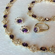 SE64 Sim diamond & amethyst 18k gold gf necklace bracelet earrings ring BOXD SET