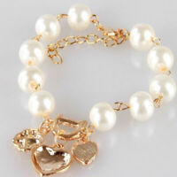 2019 Women  Fashion Gold Plated Jewelry Crystal Heart Bangle Pearl Bracelet HOT