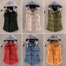 NEW Womens Plus Size Hooded Winter Sleeveless Jacket Coat Warm Gilet Waistcoat