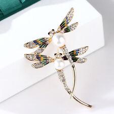 enamel brooch pin custome jeweTlp Fashion women crystal pearl animal dragonfly