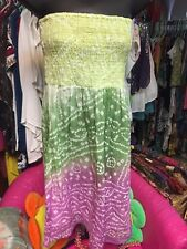 Strapless Pastel Multicolor Batik Dress Dresses Shurred Elastic Skirt Sm S