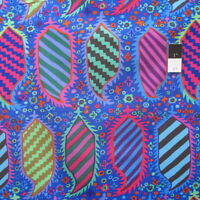 Kaffe Fassett PWGP153 Striped Heraldic Blue Cotton Fabric By The Yard