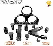 Twin Bosch 044 Fuel Pumps+High Flow Filter Manifold Cradle Assembly KIT in Black