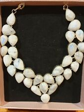 RAINBOW MOONSTONE 925 INDIAN SLIVER BREAST PLATE NECKLACE