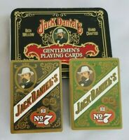"VTG Jack Daniel's Gentlemen's Playing Cards In Tin ""2"" Unopened Decks of Cards"